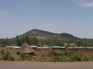 Driving past ethiopian villages