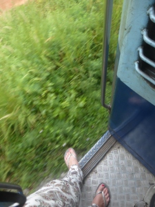 Train doors are generally open in India...