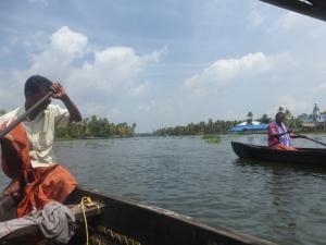 Canoeing through Keralas backwaters