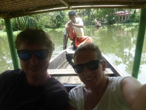 Canoeing through Keralas backwaters