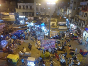 The Main Bazaar in Delhi at night